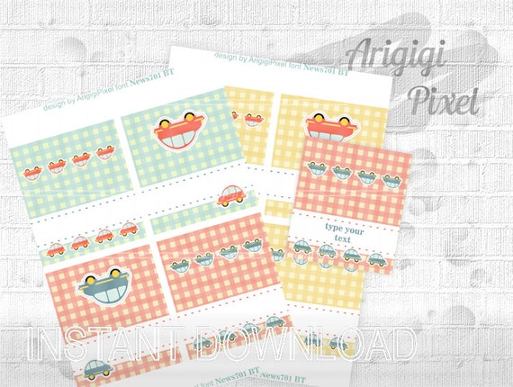 Printable Kids Party Tent Card, type your text, gingham, car toys, buffet, food label, dessert bar, drink bar, place card, download