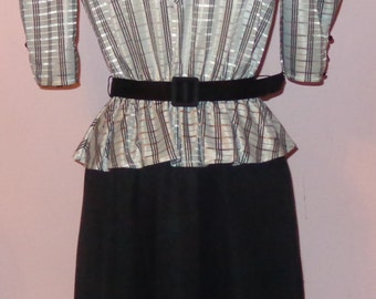 Vtg 70s Jerri Jee Secretary Poly Indie Dress Drape Neckline Matching Belt Mint Condition S