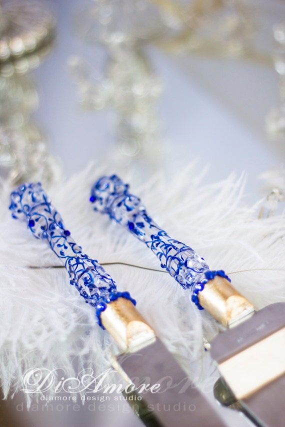Personalized Royal Blue Gold Wedding Cake Server And Knife