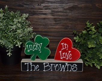 Lucky in Love Personalized Wood Block Love Set Personalized Irish Wedding Gift Valentines Day Decor St. Patrick's Day Decoration Holiday