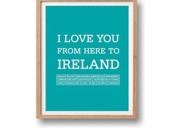 Travel art print, Travel poster, Ireland