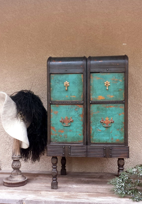 Rustic glam nightstand upcycled cabinet of drawers tall side for Tall rustic nightstands