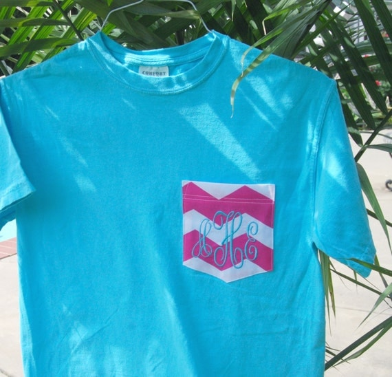 Neon and bright monogrammed pocket comfort colors by for Neon coloured t shirts