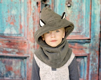Kids Wolf Costume Hat, Children Wolf Hooded Scarf