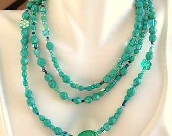 Long Turquoise Czech Glass Beads, Chalcedony and Sterling Silver Necklace - Opera Length Necklace - Downton Abbey Style