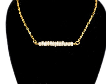 SALE!!Pearl bar necklace on 24k gold filled chain