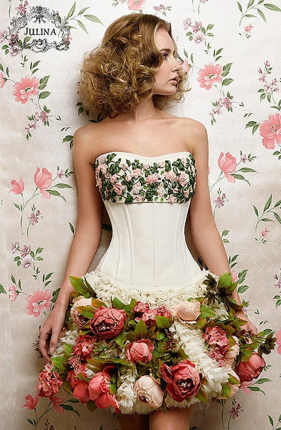 Items similar to corset quot pink roses hand embroidery silk