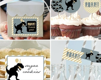 Dino Birthday Decorations Package - DIY Dinosaur Birthday Package - Dino Decorations Package - Birthday Decorations - Instant Download