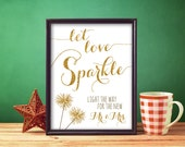 Let Love Sparkle Wedding Printable - Gold Glitter Look Wedding Bling Sign 8.5x11 Instant Download Printable Sparkler Sign - DIY Wedding