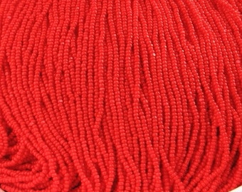 13/0 Scarlet Red Opaque Charlottes Czech Glass Seed Beads – Available In: 1/2-1-4-8-12 Hank Qtys - 1.7 mm 1 Cut - One Cut.