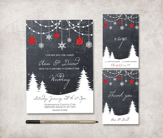 Winter Wedding Invitation Suite Printable Wedding Invitation