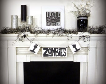 Zombies Sign - Walking Dead - Halloween Decor - Zombie Garland Party Photo Props Zombie Garland Zombies - Undead Party Decor Walker Sign