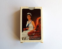 Royal Souvenir Playing Cards, 1977 Silver Jubilee Queen Elizabeth II Memorabilia, Picture Card Deck, Old Card Games, Card Deck Art Supplies