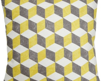 Yellow White And Grey Geometrical Pattern Pillow Case Cubes Modern Design Cushion Cover Osborne And Little Fabric Balyan