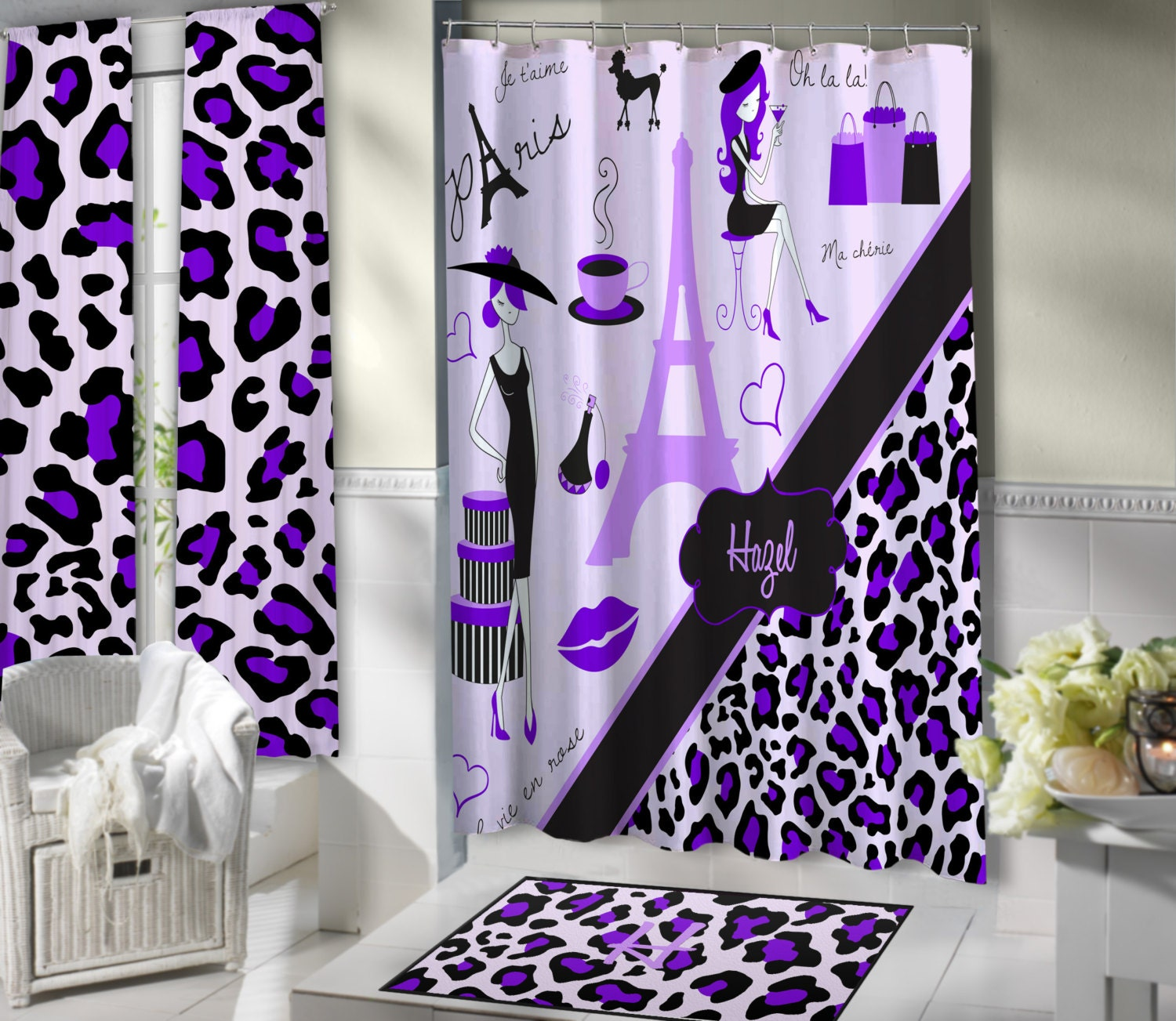 Lavender paris shower curtains paris themed bathroom sets for French themed bathroom accessories