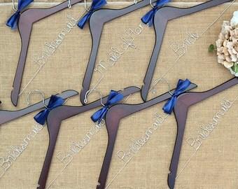 Set of 7 Personalized Bridal Hangers, Custom Hanger, Wedding Hangers, Bridesmaid Gift, Bride Hanger, Mrs Hanger