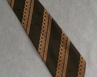 Vintage tie golden shimmery cream & brown striped design 1970s retro funky mod necktie