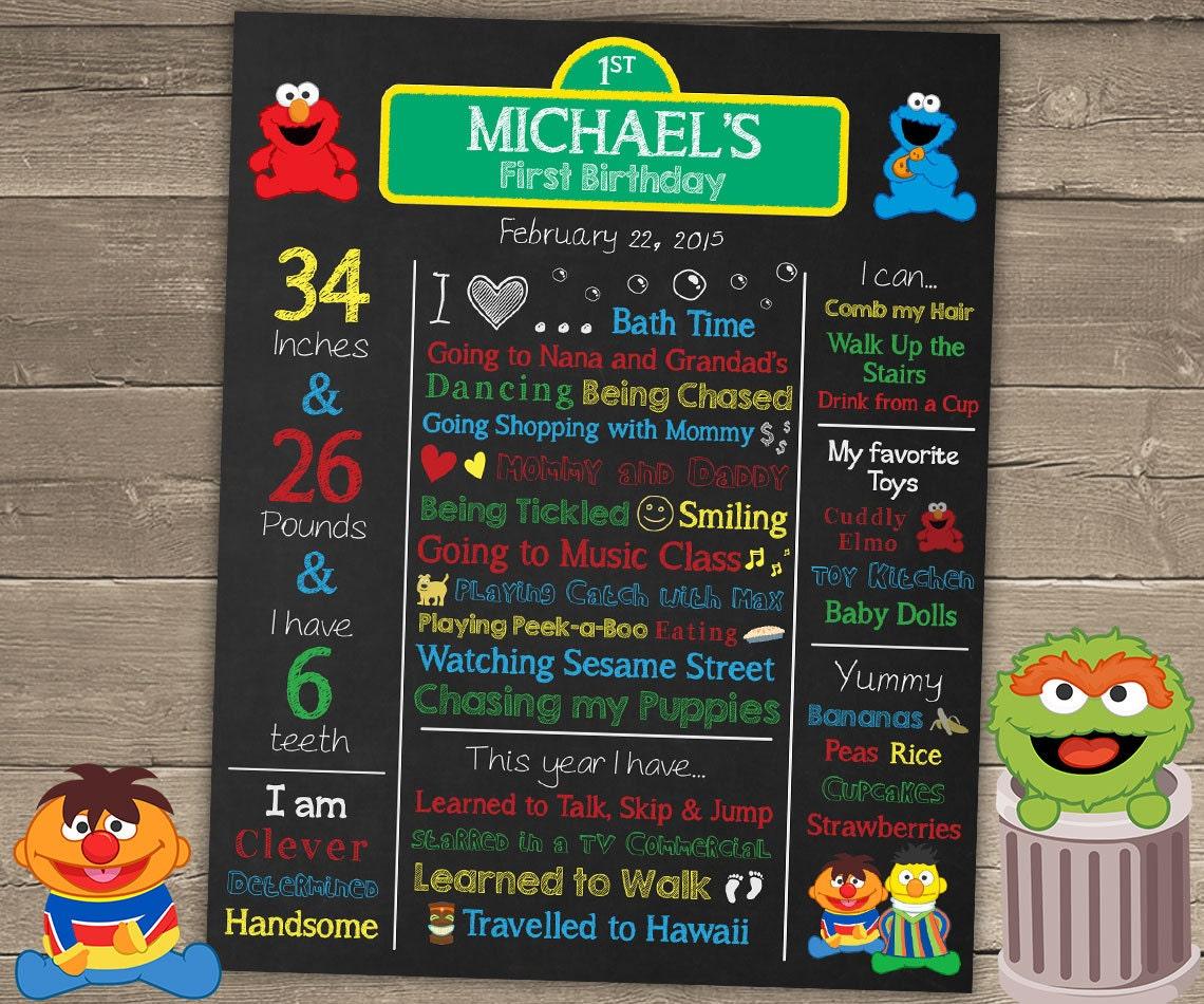 Sesame Street Birthday Poster Sesame Street Birthday – Sesame Street 1st Birthday Invitations
