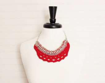 Red Crochet & Chain Necklace