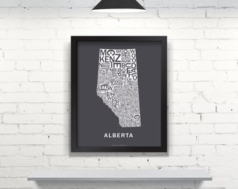 Far Sky Alberta Typographic Map