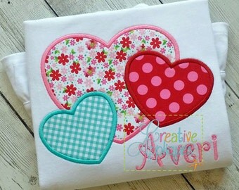 Hearts Trio Valentine Digital Machine Embroidery Applique Design 4 Sizes