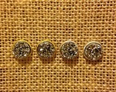 Druzy Stud Earrings in Hematite, Dark Silver Druzy Studs, Dark Silver Druzy Earrings, Hematite Earrings, Sparkle Druzy Studs
