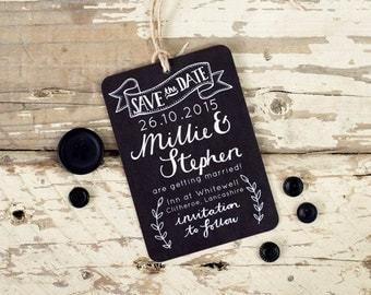 Chalkboard Save the Date tag, rustic wedding - hand drawn detail