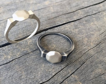 sterling silver rings for women - silver stacking rings - stackable rings - streling silver jewelry - geometric rings - Round Diamond SOX