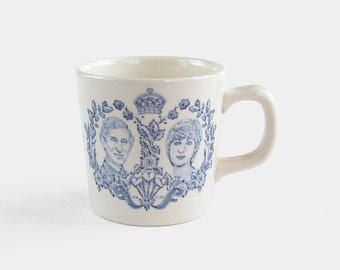 1981 Prince Charles and Lady Diana Spencer Royal Wedding Mug by Mason's - small blue & white commemorative cup made in England British 1980s