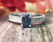 6x4MM Blue Sapphire and Diamond Engagement <Prong> Solid 14K White Gold (14KW) Colored Stone Wedding Ring *Fine Jewelry* (Free Shipping)