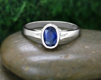 6x4MM Blue Sapphire and Diamond  Engagement <Bezel/Pave> Solid 14K White Gold (14KW) Wedding Ring *Fine Jewelry* (Free Shipping)