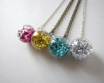 Glitter ball necklace - several colors - made to order