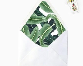 Tropical Banana Palm Leaves Envelope Liners, DIY Printable Destination Wedding Invitations