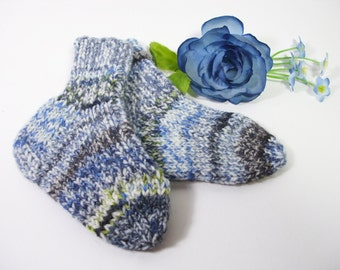 Hand knit baby wool socks 3-6 month knitted newborn socks blue baby boy socks hand knit baby boy socks gift for baby boys baby shower gift
