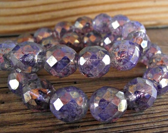 12mm Light Amethyst Opalite Glass Beads Picasso Czech Rounds Faceted Fire Polish CZ285,large purple beads,12mm glass beads,12mm purple beads