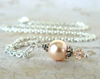 Peach Pearl Necklace, Peach Swarovski Crystal Pearl Pendant, Vintage Inspired Bridesmaid Necklace, Wedding Party Jewelry