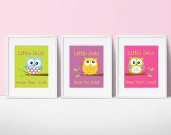 Owl Bathroom Decor - Little Owls Wash Their hands Print - Kids Bath - Kids Bathroom Decor - Bathroom Wall Art - Baby Decor - Set of 3 Prints