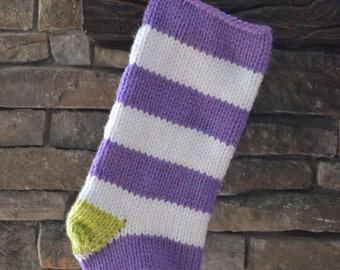 knit christmas stocking: bold stripes