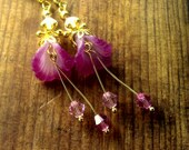Hot pink and gold tone brass lucite flower earrings, dangle earrings cala lily lucite flower