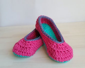 Crocheted elastic slippers for ladies and kids sizes, ballerina flats, mary janes, very comfort, durable, elastic
