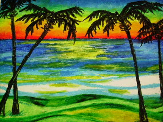 Palms At Sunset 14x17 Beach Landscape Oil Pastel Drawing On
