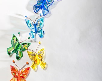 3D butterflies stained glass set, fantasy hand painted home ornament, Rainbow Chakra multicolor, Nursery, curtain, window, wall art decor