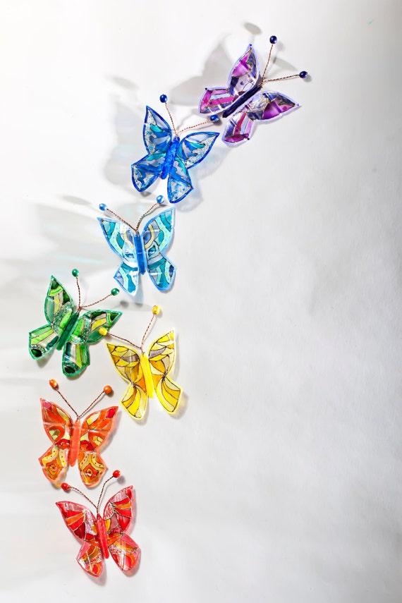 Wall Art Glass Butterflies : D butterflies stained glass set fantasy hand painted home