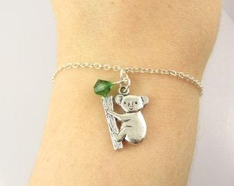 Koala Bracelet- choose a color, Koala Jewelry, Koala Bear Bracelet, Koala Bear Jewelry, Silver Koala Bear, Koala Charm Bracelet, Animal