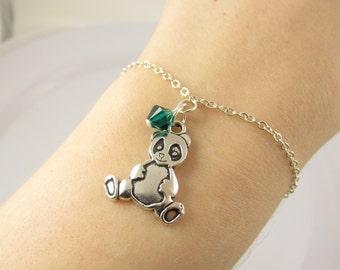 Panda Bracelet- choose a color, Panda Bear Bracelet, Panda Jewelry, Panda Bear Jewelry, Panda Gift, Panda Charm, Custom Panda Bracelet