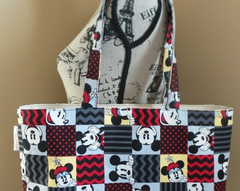 Mickey Mouse Minnie Mouse Square Tile Tote Bag, Beach Bag, School Bag, Book Bag, Travel Bag
