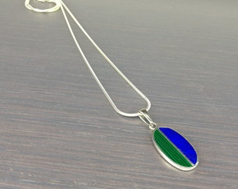 Geometrical Lapis Lazuli and Malachite pendant with Sterling silver