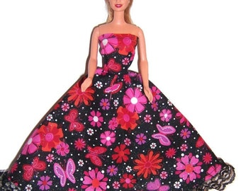 Fashion Doll Clothes-Glittery Red/Black Floral Strapless Dress