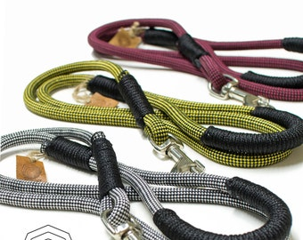 Climbing Rope dog leash. Unique Stylish Checker climbing rope combinations. Skater Style. Bordreaux  - White - Yellow
