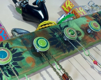 Wall organizer recycled Necklace holder / jewelry hanger reclaimed wood hanging decorative scarf rack floral design 5 knobs 4 green hooks